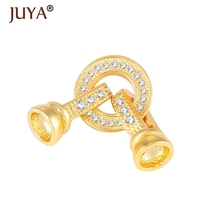 high quality copper metal micro pave CZ rhinestone jewelry clasps hooks Connectors End Cap for Bracelet necklace making findings(China)