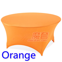 Spandex table cover Orange Colour round lycra stretch table cloth fit 5ft-6ft round wedding hotel banquet and party decoration(China)