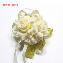 20pcs Handcrafted Wrist Corsage Bracelet Artificial Silk Rose Flowers For Wedding Hand Flower Bouquet For Bride Event Supplies