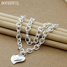 Fine Woman Silver Heart Card Letter Necklace Double Heart Charm Pendant Necklace Famous Band Jewelry Best Gifts(China)