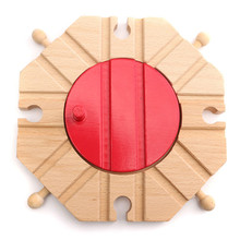 1pcs Miniature Wooden Train Switch Track Set Circular Turntable Educational Toys Boy Kids Toy Fit Thomas and Brio(China)