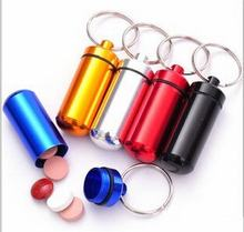 5pcs/lots Convenient Carry Waterproof Aluminum Medicine Pill Box Case Bottle Cache Drug Holder Keychain Container Keyring(China)