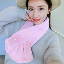 2016 Fashion Hot Autumn Winter Women Scarf Faux Fluffy Rabbit Fur Scarves Soft Hand Beading All Match Thick Warm Kids Shawl