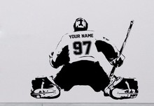 Free shipping DIY Hockey Goalie CUSTOM Decal Wall art sticker Player jersey NAME and NUMBERS kids Vinyl Stickers(China)
