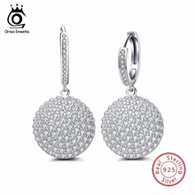 ORSA JEWELS Sterling Silver 925 Earrings Round Shape With Prong Paved AAA CZ Shiny Hollowed Backside Hoop Earrings SE42(China)