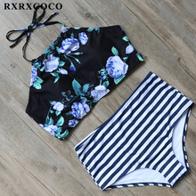 Buy RXRXCOCO High Waist Swimsuit Women High Neck Swimwear Padded Bikini Female Sexy Striped Bikini Set Halter Bandage Swimming Wear