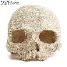 1Pcs Aquarium Resin Spooky Hollow Skull Head Cave Ornament Resin Crafts for Aquarium Fish Tank Landscape Decoration Cool Decor