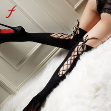 Feitong New Fashion Sexy Lingerie Sexy Women Ladies Bandage Bind Thigh-highs Stockings Nightclub Pantyhose For Women 2017(China)
