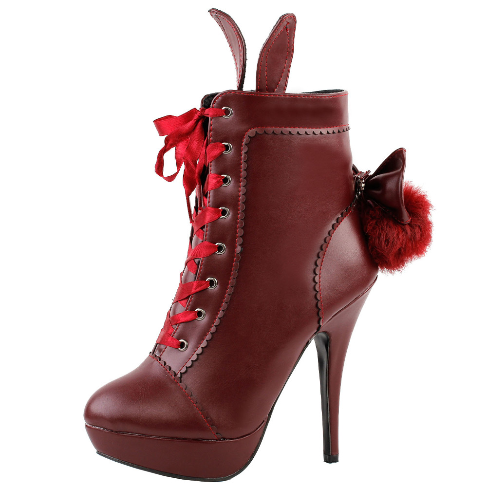 LF30311 Red Cosplay Lolita Halloween Fancy Ear Tail Lace-up Platform Stiletto Ankle Boot<br>