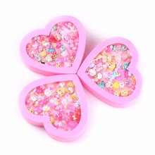 36Pcs Fashion peach heart boxed ring style color random delivery Flowers plants animal modeling plastic ring accessories childr