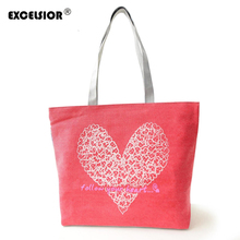 EXCELSIOR Floral Hearts Printed Canvas Tote Female Casual Beach Bags Large Women Single Shoulder Shopping Bag Canvas Handbags(China)