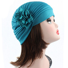Feitong Solid Indian Caps Women Headwrap Vintage Ukraine Flower Stretch Turban Hat Casquette Chemo Cap Headscarf