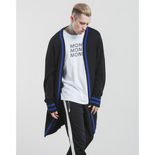 Autumn and Winter Streetwear Hip Hop Tide Brand Blue Stripe Hit Color Knitting Sweaters Men Long Mens Cardigans Sweater(China)