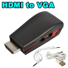 HDMI to VGA Adapter Male to Female Conversion Connector Converter for XBOX 360 PS2 Laptop HDTV DVD 1080P 3.5mm audio + USB Power