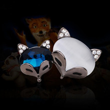Lovely double color fox brooch brooches The cat's eye high-grade diamond badges(China)