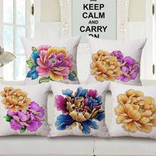 China Style Phnom Penh Peony Flowers Printing Cotton Linen Throw Pillow Home Decorative Sofa Chair Seat Cushion(China)