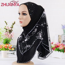 11 color Selling Muslim headscarves embroidered scarves wrapped with gauze scarf soft scarf hijabs women(China)