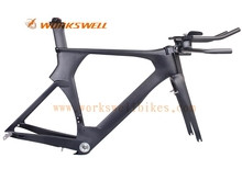 2016 hot sale full carbon time trial bike frame with direct mounted brake full internal cable routng for carbon triathlon frame(China)