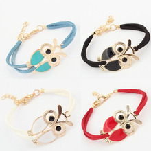 New Fashion Womens Girls Vintage Owl Decoration Faux Leather Bracelets Jecksion brand new and high quality