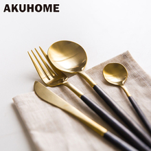 7 Colors Stainless Steel Cutlery Set Noble Fork Knife Dessert Dinnerware Tableware Gold Silver Black Coffee