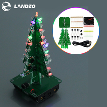 Three Dimensional 3D Christmas Tree LED DIY Kit Red/Green/Yellow LED Flash Circuit Kit Electronic Fun Suite Christmas Gift(China)