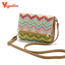 Yogodlns Spring Summer Bohemian Wave Pattern Simple Shoulder Messenger Bag Straw Stitching PU Hand Holding Small Crossbody Bags