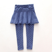 Cotton Baby Girl Leggings Girls Skirt-Pants Cake Skirt Legging Spring Autumn Toddler Kids Pants Fake Two Piece Trousers Clothes(China)