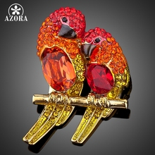 AZORA Two Red Bird Gold Color Gorgeous Crystal Fashion Costume Pin Brooch TP0009