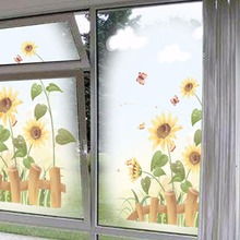 Yanqiao Sunflower Fence Pattern Wall Sticker for Window Glass Nursery Shop Store Kids' Room Baseboard DIY Removable Wall Decals(China)