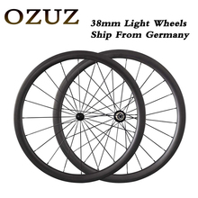 OZUZ Ship From Germany Ultra Light 700C 23mm Width 38mm deep Clincher Tubular R13 Hubs Carbon Wheel Race Road Bike Wheelset