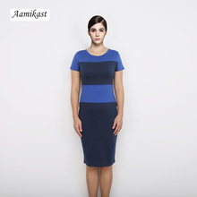 New Top Fashion Noble Women's Two-Tone O-neck Career Contrast Stripe Zipper Back Formal Pencil Dresses Free Shipping