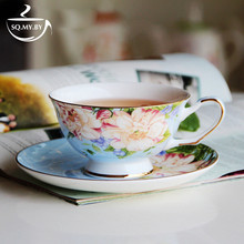2016 High Quality Luxury Royal Bone China Coffee Cup Set European-Style Country Flower Milk Tea Mug Creative Gift With Saucer(China)