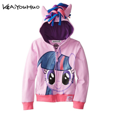 KEAIYOUHUO NEW Spring 2017 warm coat cartoon pony leisure sports jacket made of pure cotton clothes girl's clothing