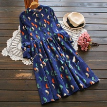 2016 Mori Girl Vintage Print Women Dress Spring Autumn Long Sleeve Birds Print  Corduroy Vestidos Elegant Navy Blue  Retro Dress