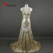 African 2017 Custom Made Gold Sequins Crystal Sexy Mermaid Backless Cheap  Evening Prom Dresses Elegant LIYATT 54d8a6508deb