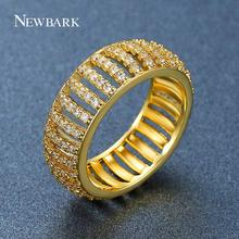 NEWBARK Queen Type Ring Pave AAA CZ Stone Hollow Gold Color For Women Round Shape Trendy Luxury Girl's Jewellry Rings Gift(China)