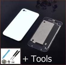 Best quality Rear glass battery housing for iphone 4 4s mobile cell phone back door cover white & balck color+repair tool+1xfilm