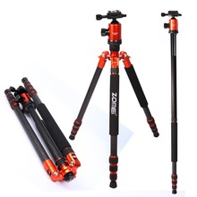 Flagship ZOMEI tripod Orange Z888C Professional Travel Carbon Fiber camera tripod Monopod&Ball head with case for DSLR camera(China)