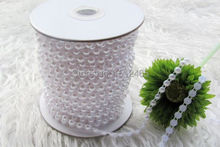 25m/roll 2015 White Half Round Pearl Bead Garland Wedding Centerpiece Table Decoration Craft accessory 6mm ZZ05
