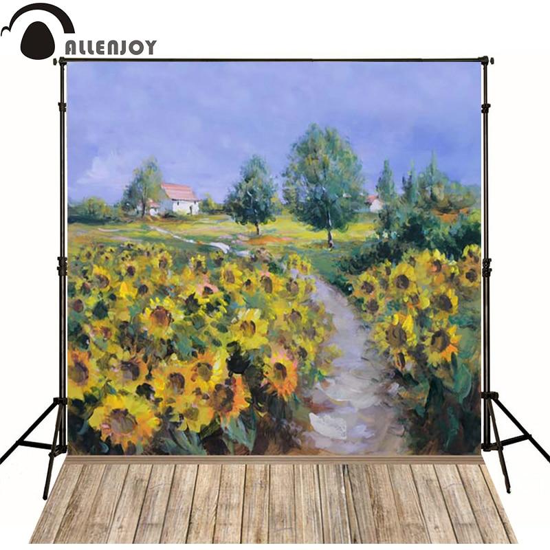 Allenjoy Photographic background Sunflower oil paintings on wood house newborn vinyl backdrops  custom interesting wall floor<br><br>Aliexpress