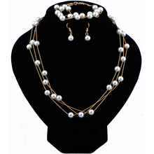 Wedding Pearl Jewellery Bracelet Necklace Earrings Set Dubai Jewelry Sets For Women Costume Accessories Ladies Jewellery Sets