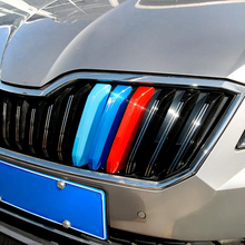 3 Pcs 3D DIY Car Styling ABS Front Grille Trim Sport Strips sticker Cover Case Stickers For SKODA OCTAVIA A7 2015-17 Accessories