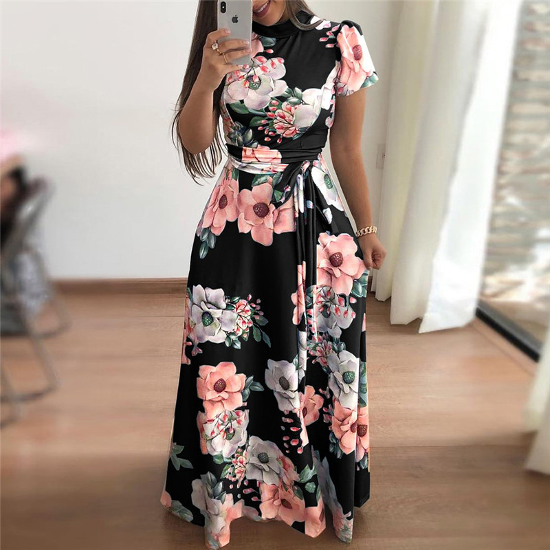 Women Summer Dress 2019 Casual Short Sleeve Long Dress Boho Floral Print Maxi Dress Turtleneck Bandage Elegant Dresses Vestido Платье