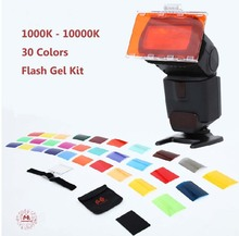 FalconEyes CFA-30K Flash Speedlite 30 Colors Color Gel Kit with Barndoor & Reflector & Bag for Canon Nikon YONGNUO GODOX(China)