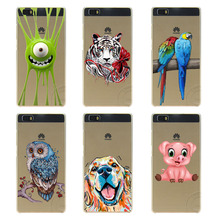 2016 Real For Huawei Ascend P6 P8 Lite P9 Mate 8 9 Honor Cover Case Cute Cartoon Pig Dog Parrot Tiger Transparent Hard Coque