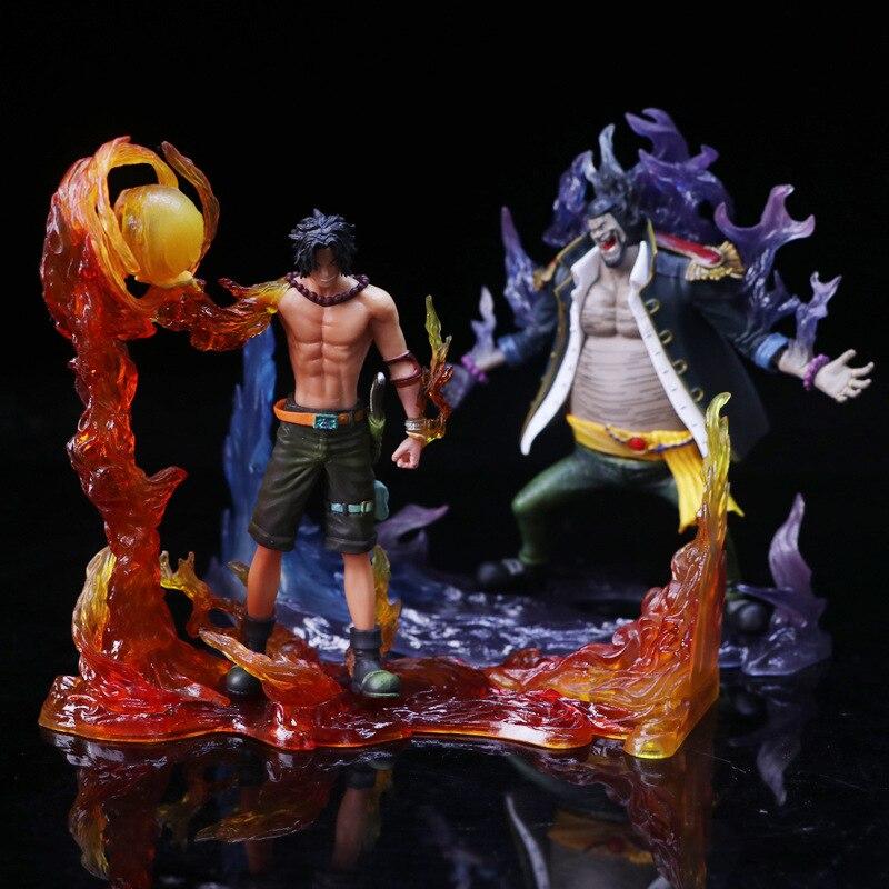 2pcs/set One Piece Whitebeard Portgas D Ace Marshall D Teach Blackbeard Battle Version 15cm Model Anime PVC Action Figure doll<br>