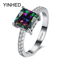 YINHED Princess Cut 2 Carat Colorful Cubic Zirconia CZ Stone Wedding Rings for Women 18KRGP Fashion Jewelry Ring Wholesale ZR245(China)