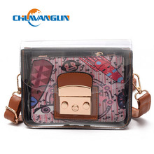 The trend of transparent plastic bag jelly small female mini mobile phone bag fashion cartoon printing messenger bag lyz4143