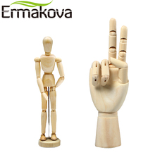 ERMAKOVA 2 pcs/Set 5.5 Inch Wooden Human Mannequin 7 Inch Wooden Mannequin Hand Model Human Artist Model for Drawing Sketch