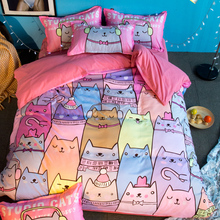 Free shipping novelty gift cute cats pattern girls' pink bedding set duvet Quilt Cover+2 pillowcase for Twin full Queen King